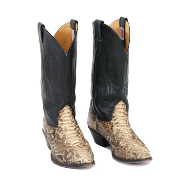 Men's Nocona Python Snakeskin and Leather Cowboy Boots