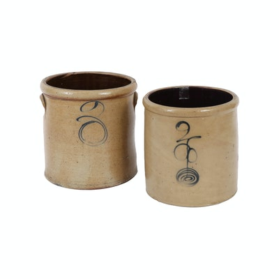 Two Gallon Salt Glaze Crocks with Cobalt Marks Including Bee Sting Design