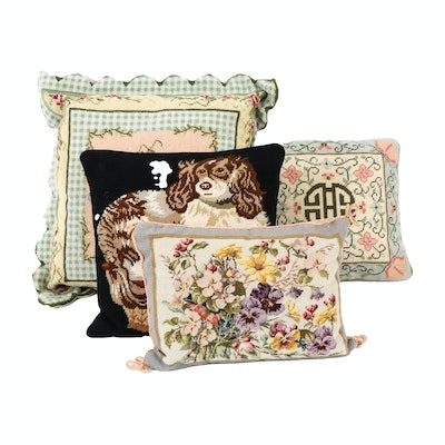 Floral Needlepoint and Cocker Spaniel Decorative Pillows