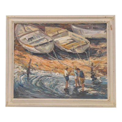 Bill Salamon Acrylic Painting of Row Boats on Shore, Late 20th Century