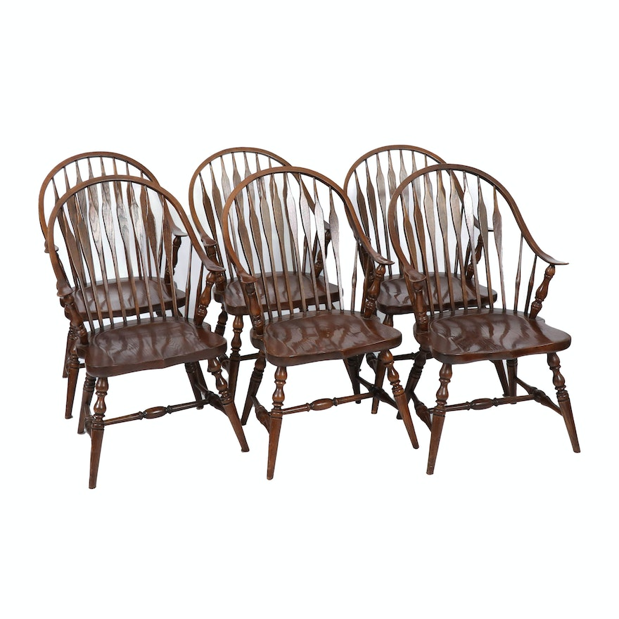 Six Oak Windsor Style Dining Chairs, Late 20th Century