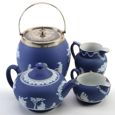 Wedgwood Biscuit Jar and Other Dark Blue Jasperware, 1891-1927