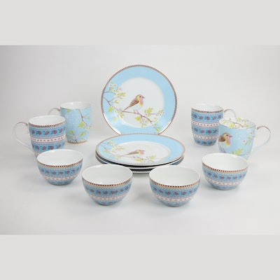 Pip Home Ceramic Coffee Cups, Plates, and Bowls with Bird and Flower Motif