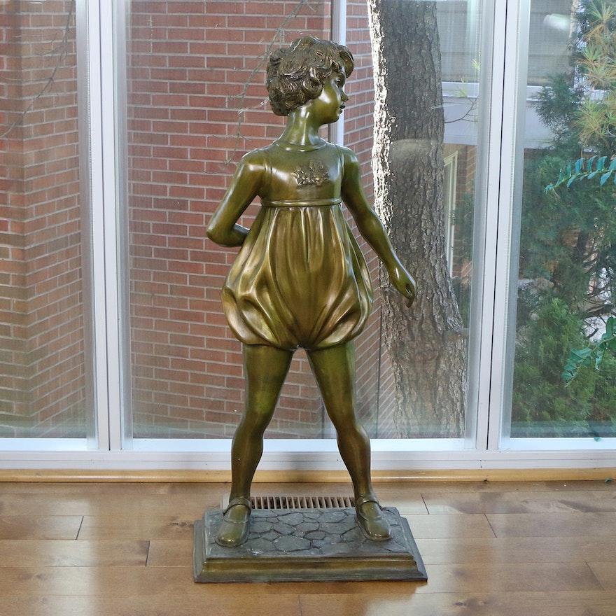 Metal Sculpture of a Girl After Ferdinand Preiss