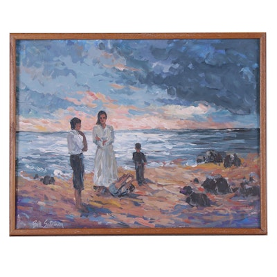 Bill Salamon Oil Painting of Coastal Scene at Sunset with Figures