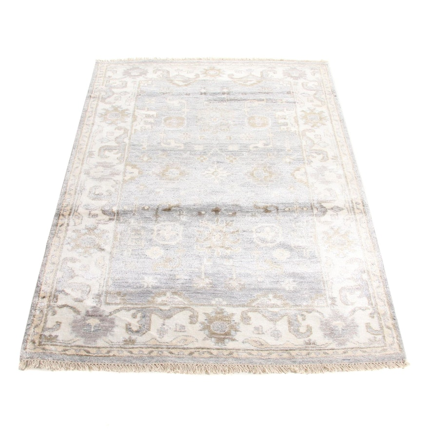 4' x 5'11 Hand-Knotted Indo Turkish Oushak Bamboo Silk Rug, 2010s