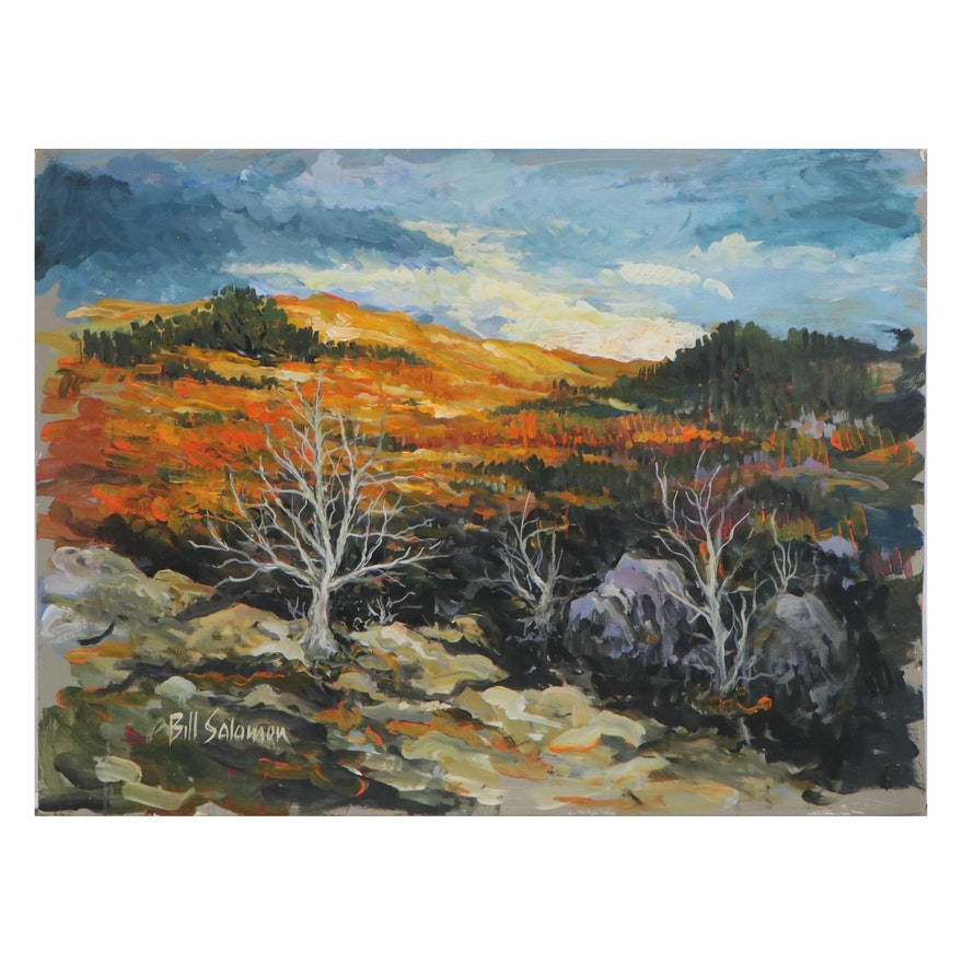 Bill Salamon Landscape Acrylic Painting, Late 20th Century