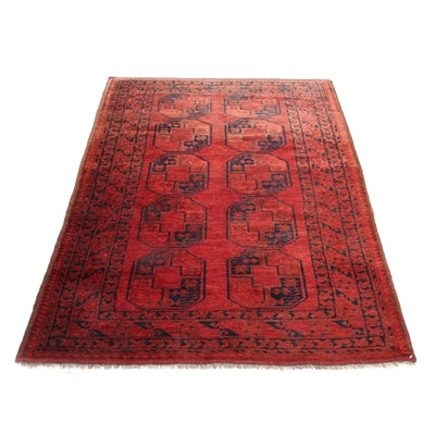 4'3 x 6'10 Hand-Knotted Afghani Turkoman Rug, 1930s