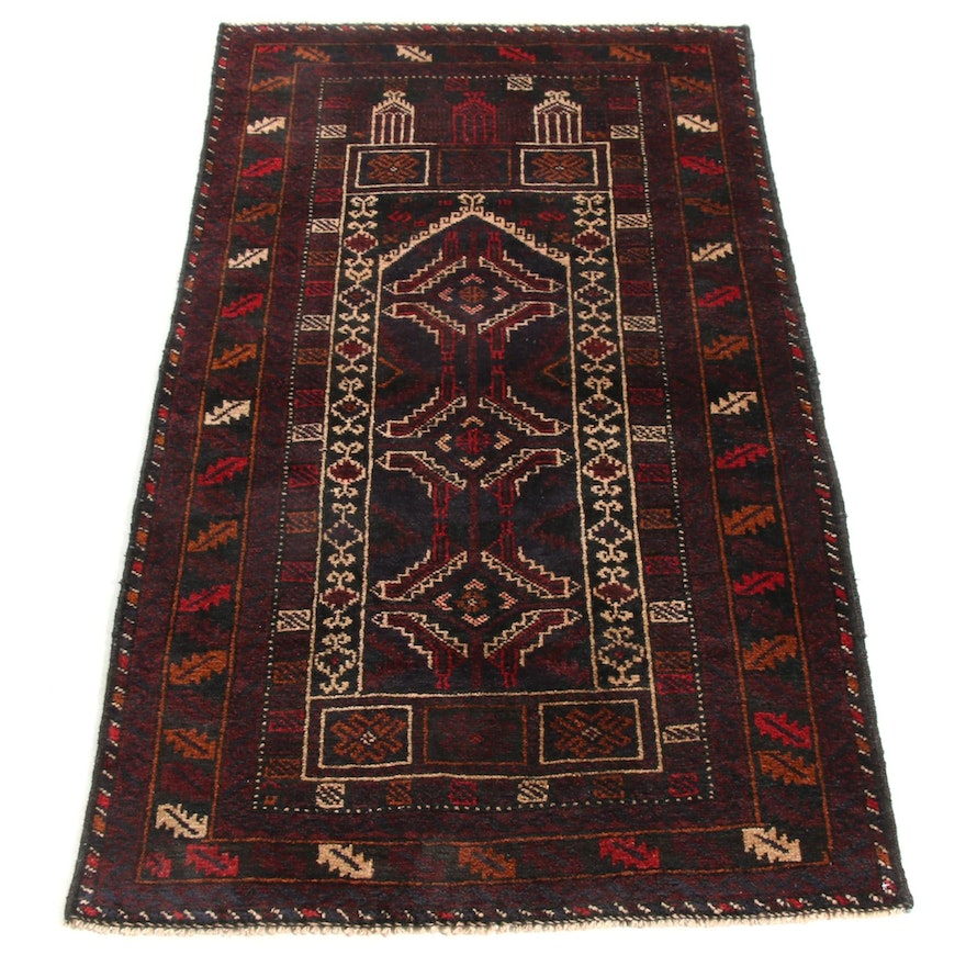 2'8 x 4'9 Hand-Knotted Persian Balouch Rug, 1970s