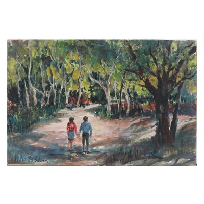 Bill Salamon Watercolor Painting of Couple in Park, Late 20th Century