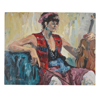 Bill Salamon Acrylic Painting of Violinist, Late 20th Century