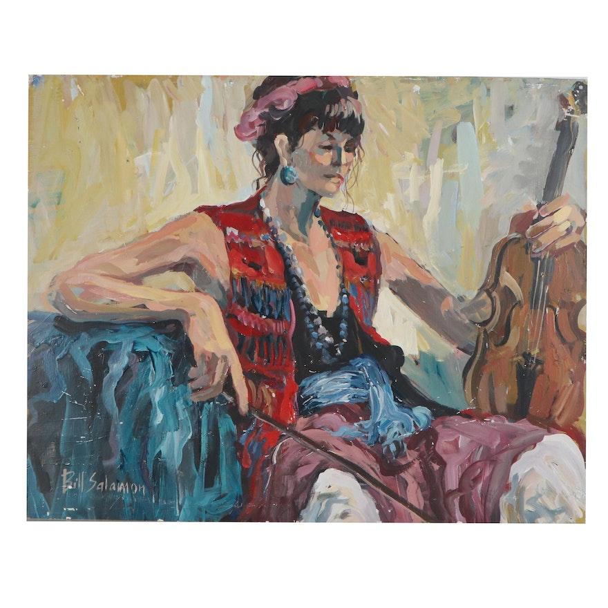 Bill Salamon Acrylic Painting of Violinist, Late 20th Century