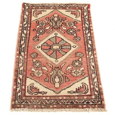 1'10 x 3' Hand-Knotted Persian Zantan Rug, 1930s