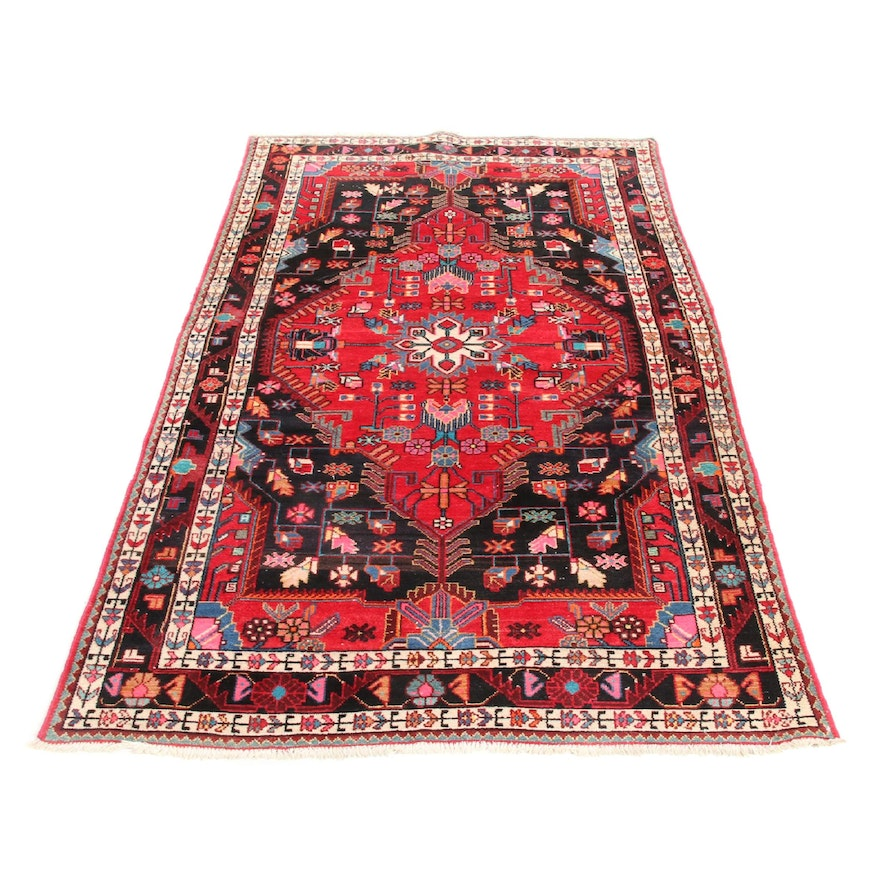 4'5 x 8' Hand-Knotted Persian Malayer Rug, 1960s