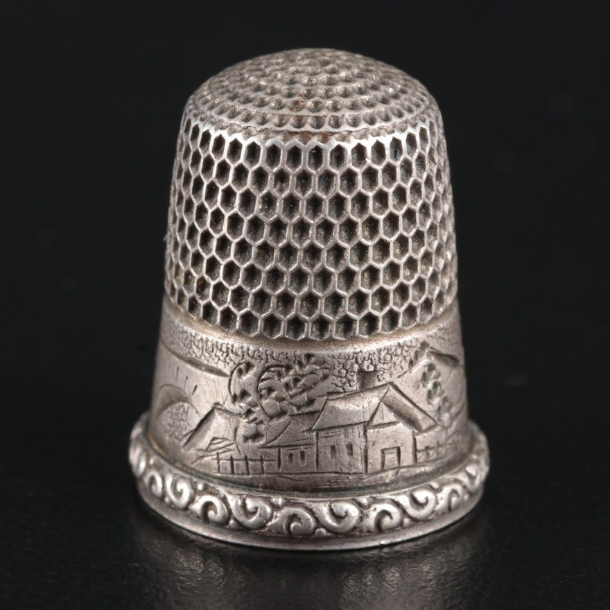Simons Brothers Sterling Silver Thimble, Mid to Late 19th Century