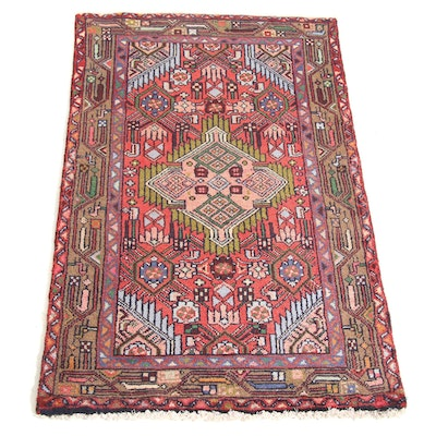 2'4 x 3'10 Hand-Knotted Persian Malayer Rug, 1980s