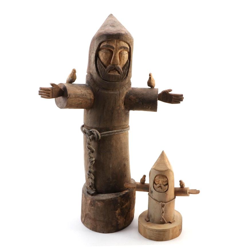 """Ben Ortega Carved Wood Sculptures """"St. Francis of Assisi"""""""