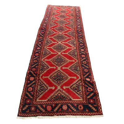 3'5 x 12'10 Hand-Knotted Persian Malayer Runner, 1970s