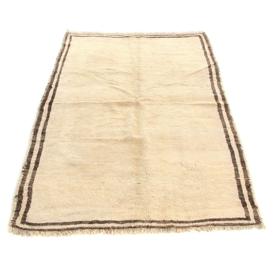 4'6 x 6'11 Hand-Knotted Persian Gabbeh Rug, 1950s