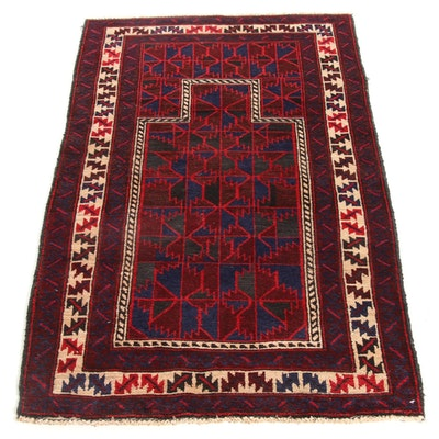 2'8 x 4'8 Hand-Knotted Persian Balouch Rug, 1980s