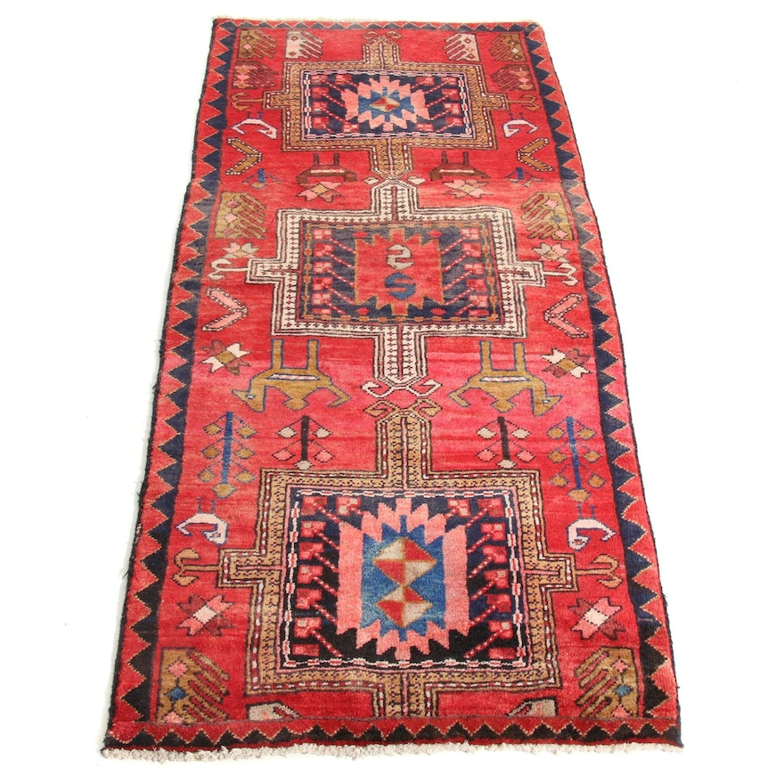 2'8 x 5'8 Hand-Knotted Northwest Persian Pictorial Rug Runner, 1950s