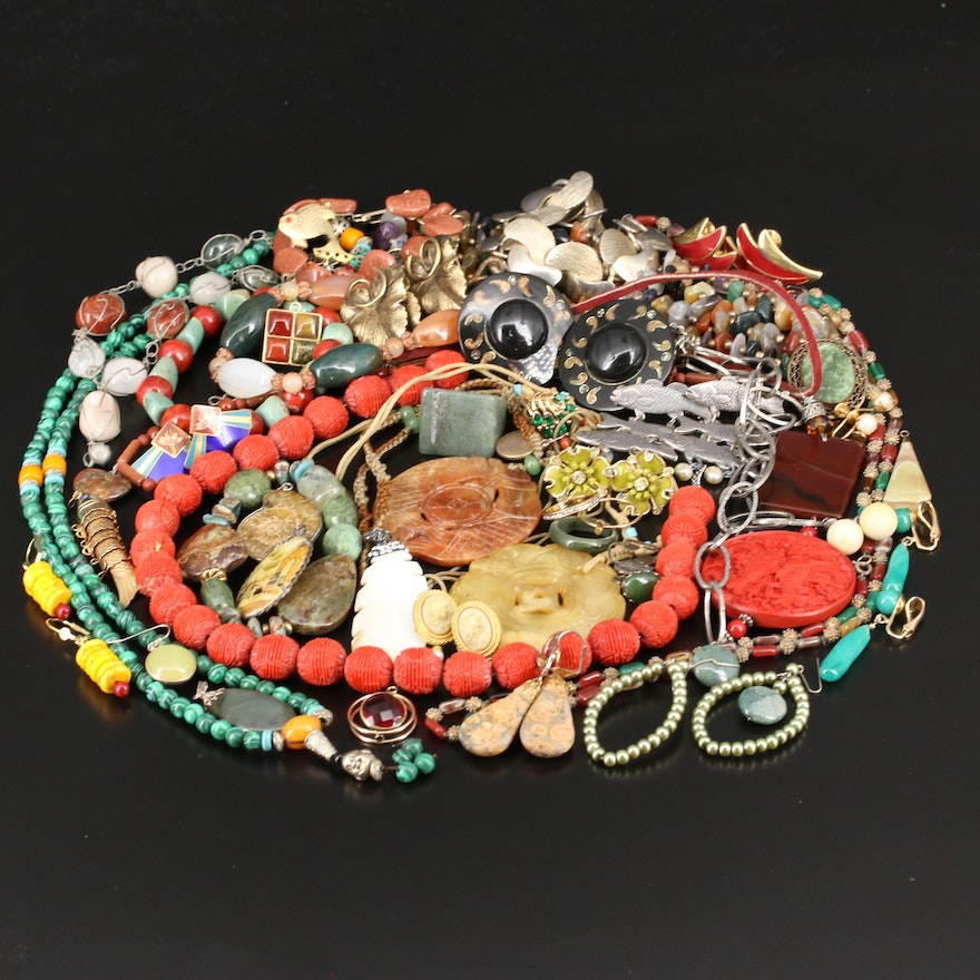 Jewelry Including Ammonite, Laurel Burch, Coral and Aventurine