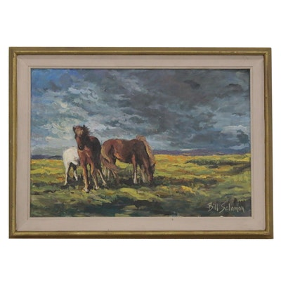 Bill Salamon Oil Painting of Wild Horses, Late 20th Century