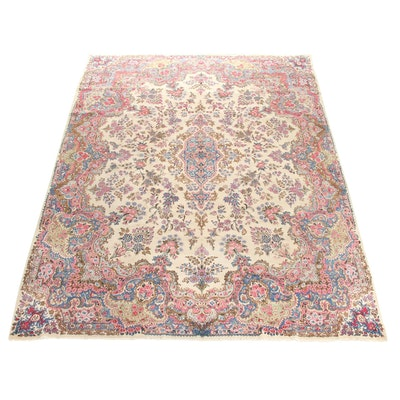 8'6 x 12'1 Hand-Knotted Persian Lavar Kerman Rug, 1920s