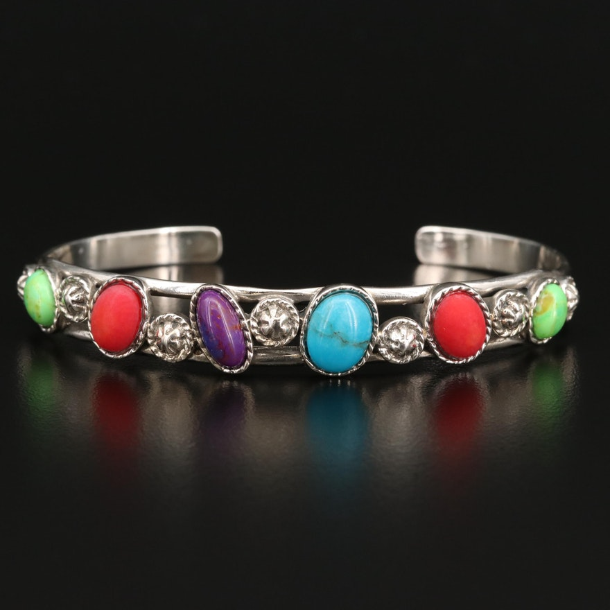 Sterling Silver Turquoise and Coral Bracelet