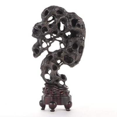 Inscribed Gongshi Scholar's Stone Sculpture with Lacquered Wood Stand