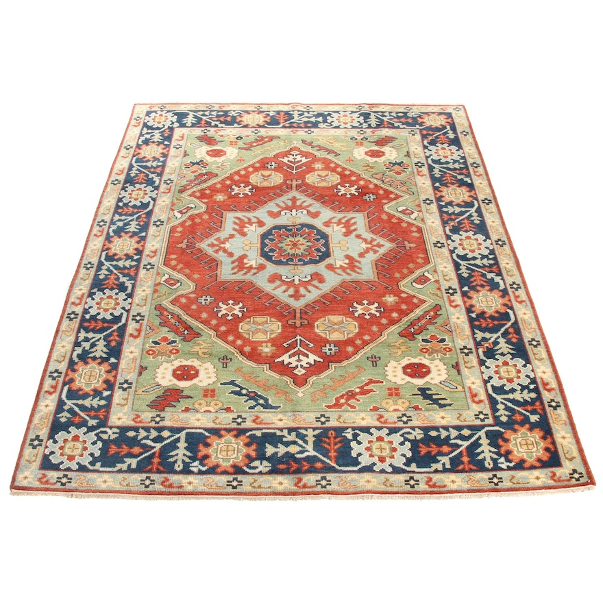 9' x 12' Hand-Knotted Indo Persian Mahal Rug, 2010s