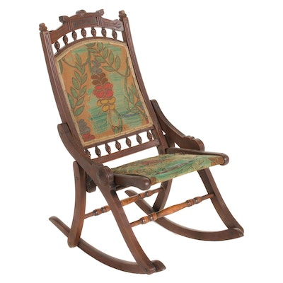 Victorian Eastlake Style Wood Folding Rocking Chair, Late 19th Century