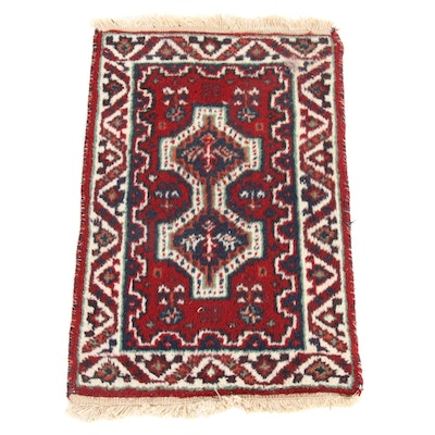 1'4 x 2'3 Hand-Knotted Indo Persian Shiraz Rug, 2000s