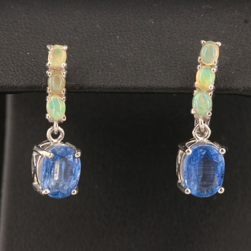 Sterling Silver Kyanite and Opal Drop Earrings
