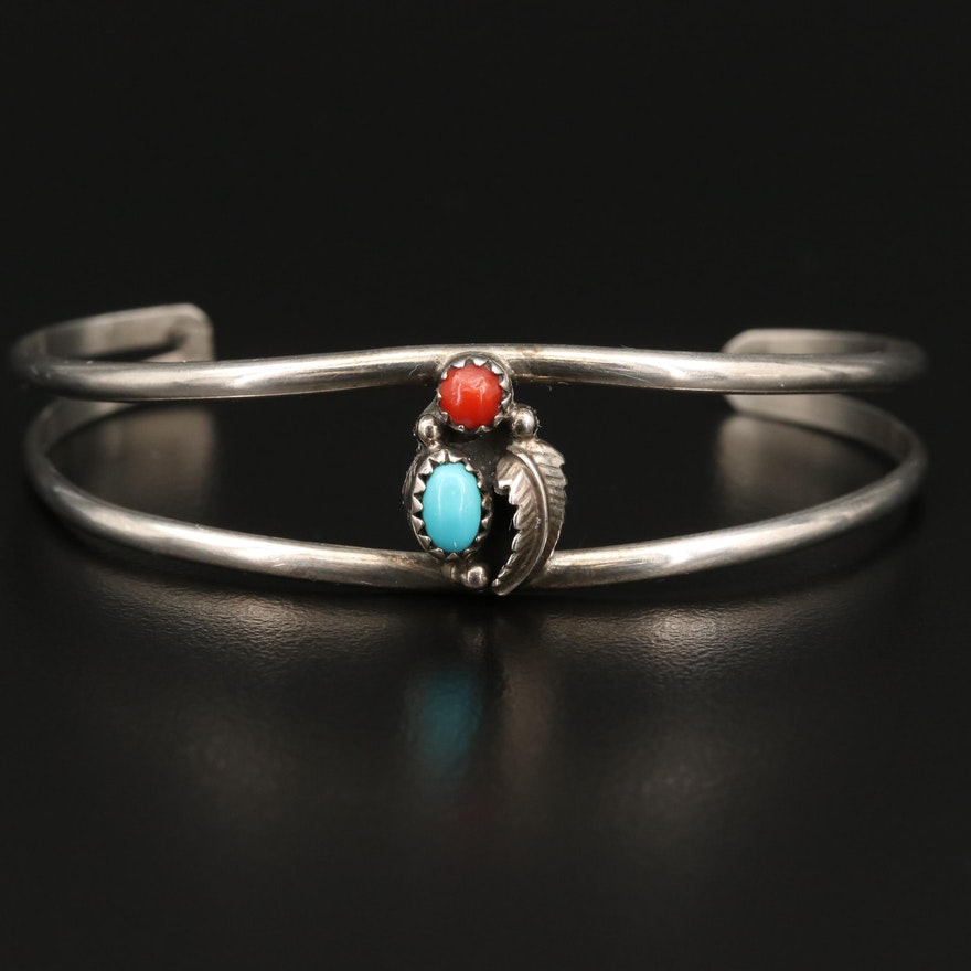 Western Sterling Turquoise and Coral Feather Motif Bracelet