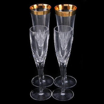 "Tom Power Signed Waterford Crystal ""Lismore"" Champagne Flutes and More"