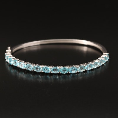 Sterling Silver Apatite Hinged Bangle