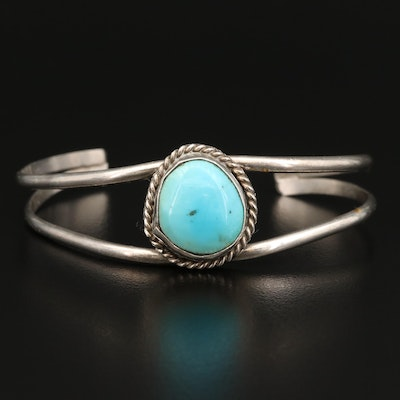 Western Sterling Turquoise Cuff with Braid Accent