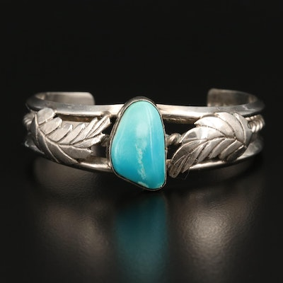 Western Sterling Turquoise Rope and Feather Cuff