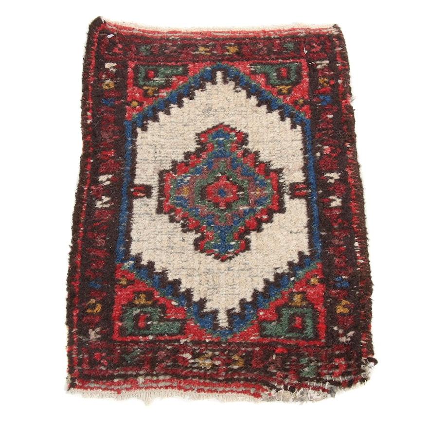 1'5 x 2'1 Hand-Knotted Persian Zanjan Rug, 1970s