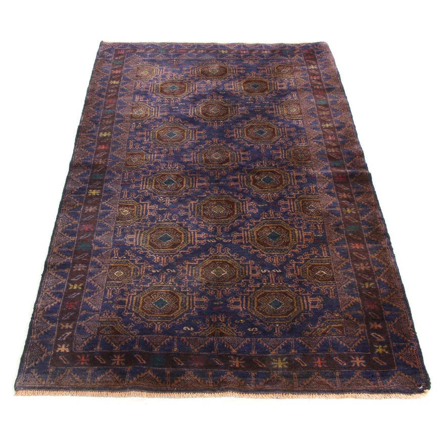 3'7 x 7' Hand-Knotted Persian Balouch Rug, 1980s