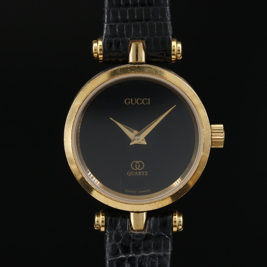 Vintage Gucci 2000L Enamel and Gold Tone Quartz Wristwatch