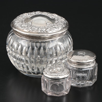 Sterling Silver and Glass Powder Jar and Pill Boxes Including Wallace