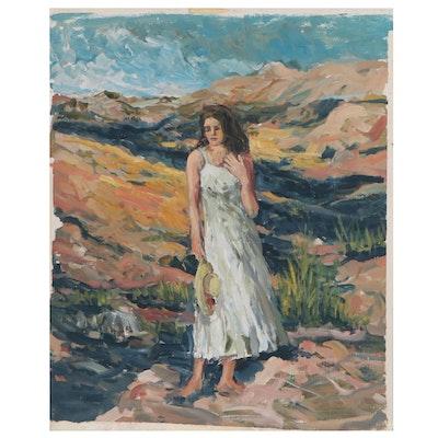 Bill Salamon Acrylic Figure Painting, Late 20th Century