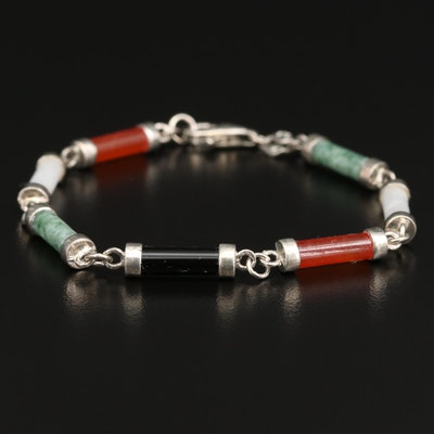 Sterling Jadeite and Black Onyx Bracelet