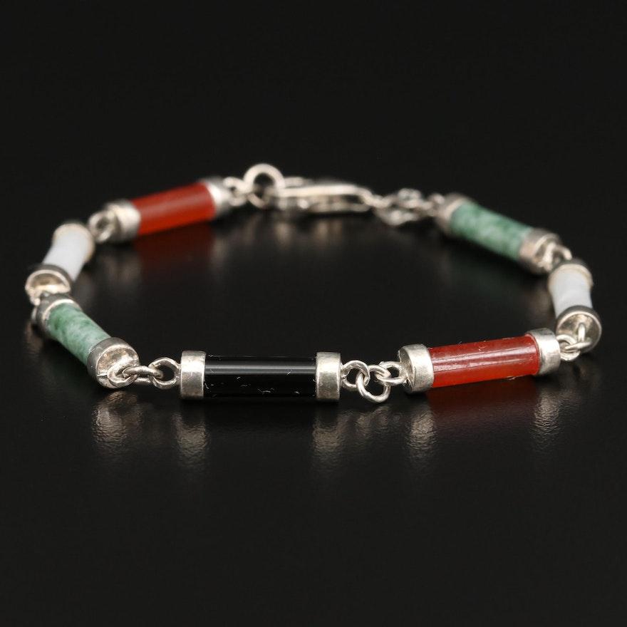 Sterling Jadeite and Black Onyx Bracelet