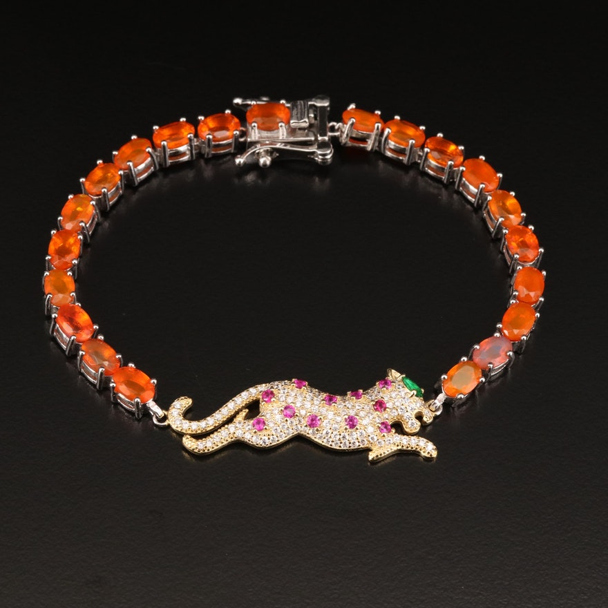 Sterling Opal, Cubic Zirconia and Ruby Panther Bracelet