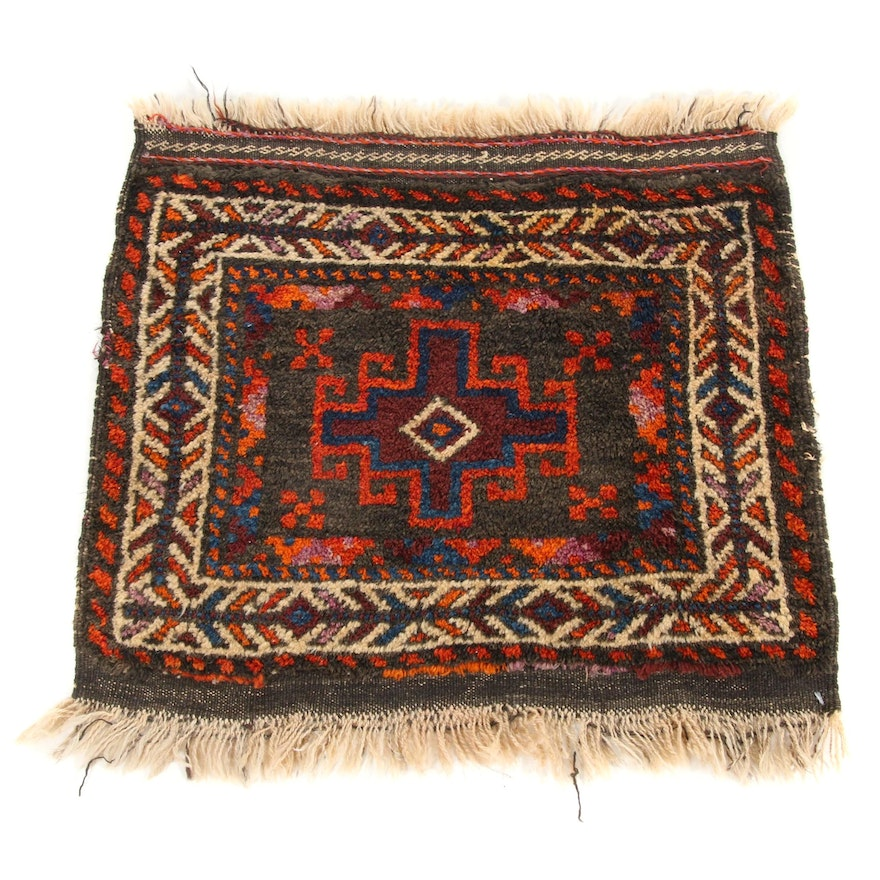 2'1 x 2'1 Hand-Knotted Persian Balouch Rug, 1920s
