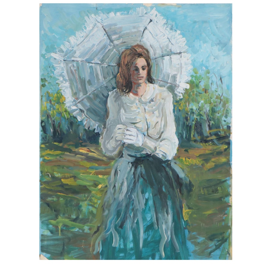 Bill Salamon Acrylic Painting of Woman with Parasol, Late 20th Century