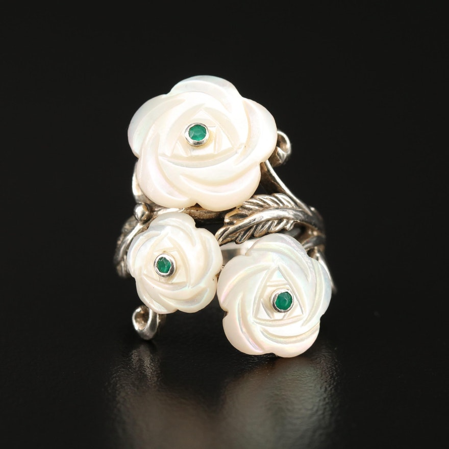 Sterling Silver Carved Mother of Pearl Flower Ring